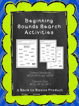 Beginning Sounds Blends and Digraphs Packet (I-READ practice)