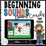 Beginning Sounds Boom Cards for Kindergarten | Farm Puzzles