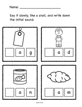 Beginning Sounds CVC No Prep Printable Phonics Worksheets