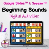 Beginning Sounds CVC Words Google & Seesaw Distance Learning
