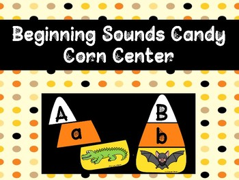 Literacy Center: Beginning Sounds Halloween Puzzle (Candy Corn)
