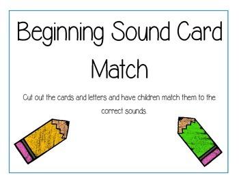 Beginning Sounds Card Matching Game.