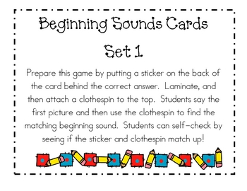Beginning Sounds Centers