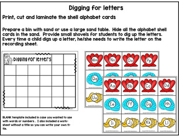 Beginning Sounds Centers and worksheets (Sea Life Theme)