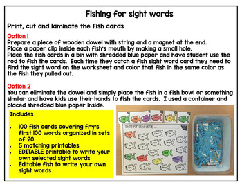 Sight Words Centers and worksheets- Fry's first 100 words (Sea Life Theme)