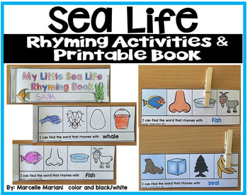 Rhyming Centers and printable book (Sea Life Theme)