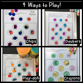 Kindergarten Beginning Sounds Chip Match