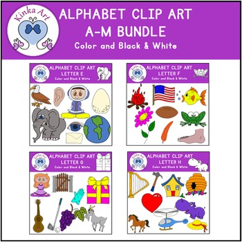 Beginning Sounds Clip Art Bundle A-M Alphabet