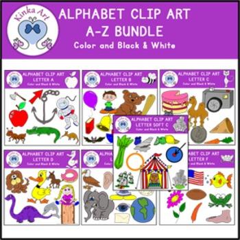 Beginning Sounds Clip Art Bundle A-Z Alphabet