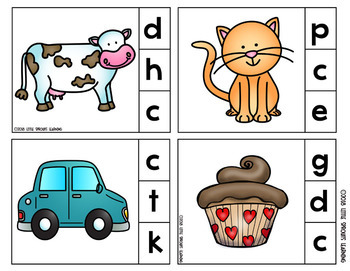 Beginning Sounds Clip Cards (100 cards) Includes Answer key