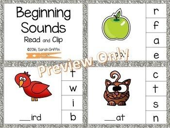 Beginning Sounds Clip Cards - Reading Center
