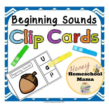 Beginning Sounds Clip Cards - 3 for Each Letter of the Alphabet