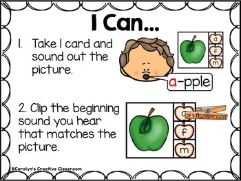 Beginning Sounds Clip Cards - Apple Themed (Johnny Appleseed)