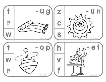 Beginning Sounds Clip Cards - B&W Line Art