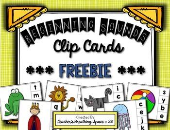 Beginning Sounds Clip Cards ***FREEBIE***
