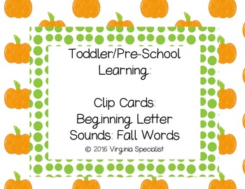 Beginning Sounds Clip Cards--Fall Words
