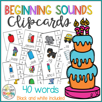 Beginning Sounds Clip Cards - Phonics Game