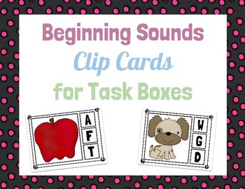Beginning Sounds Clip Cards for Task Boxes