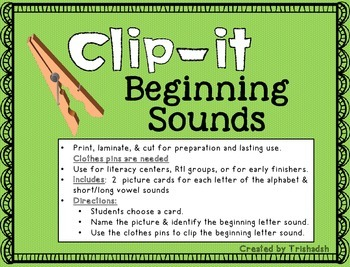 Beginning Sounds Clip-It!