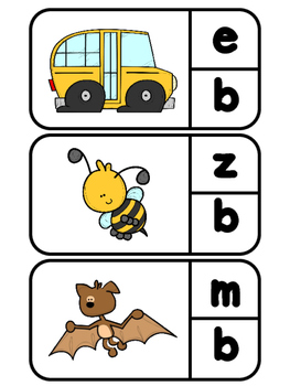 Simple Beginning Sounds Clip-It Activity (lowercase)