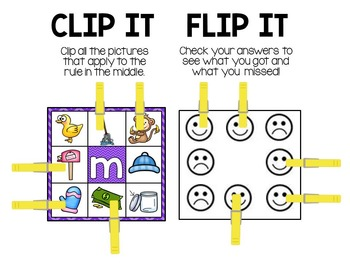 Beginning Sounds Clip and Flip Station