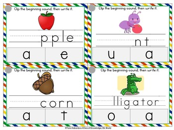 Beginning Sounds Clip, Write & Wipe Phonics Cards {99 Cards}