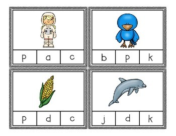 Beginning Sounds Clothes Pin Clip Cards