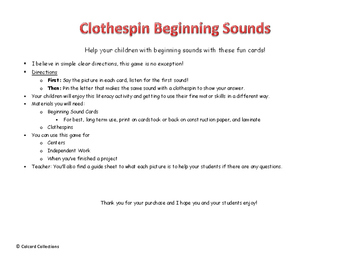 Beginning Sounds Clothespin