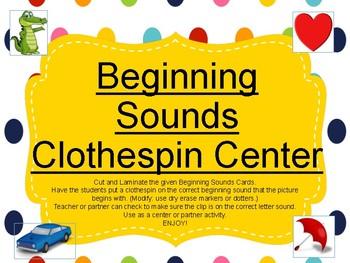 Beginning Sounds Clothespin Center