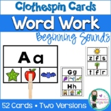 Word Work: Beginning Sounds Clothespin Game. Guided Readin