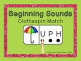 Beginning Sounds Clothespin Match (A-Z): Color/B&W Versions