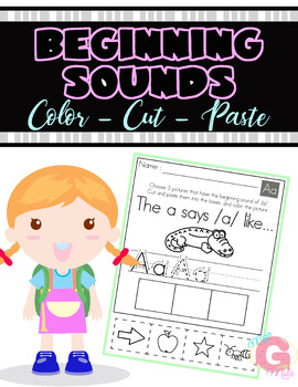 Beginning Sounds Color Cut and Paste