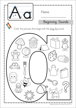 Beginning Sounds Color It Lowercase Version By