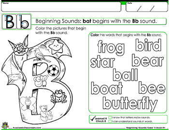 Beginning Sounds: Color it, Draw it, Read it, Book Grades-PreK-1