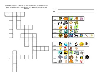 Beginning Sounds Crossword Puzzle