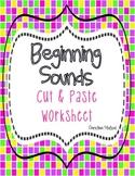Beginning Sounds Cut & Paste Activity Worksheet