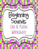 Beginning Sounds Cut & Paste Activity Worksheet