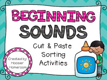 Beginning Sounds Cut & Paste Sorting Activities