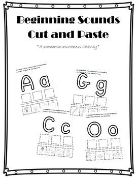 Beginning Sounds Cut and Paste {A Phonemic Awareness Activity}