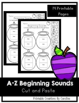 Beginning Sounds Cut and Paste. Kindergarten. Alphabet Sounds.