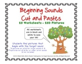 Beginning Sounds Cut and Paste Worksheets