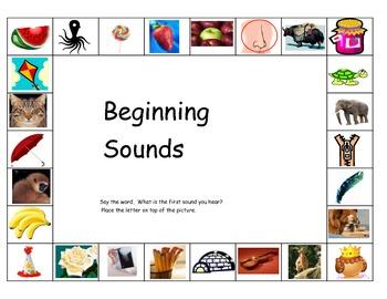 Beginning Sounds ESL pictures center Kindergarten first cut paste letter match