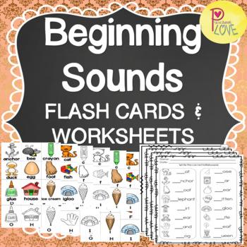 Beginning Sounds Flashcards and Worksheets Bundle