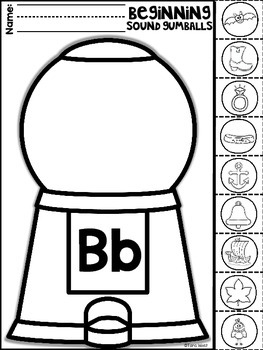 Beginning Sounds Gumball Machine Practice Sheets