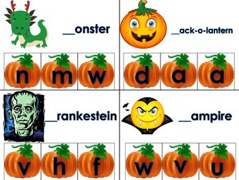 Beginning Sounds Halloween Daily 5 Word Work Literacy Center Activity