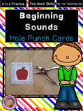Beginning / Initial Sounds Hole Punch Cards A to Z (Color & B/W)