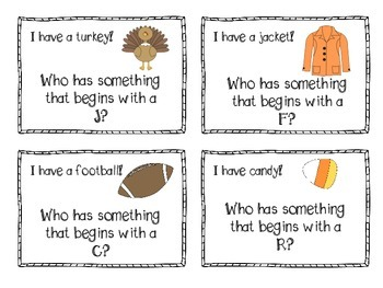 Beginning Sounds I Have Who Has Fall Game