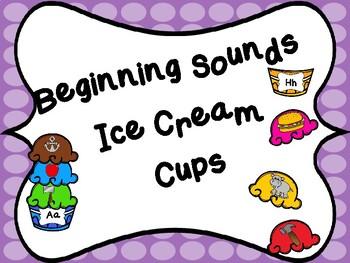 Beginning Sounds Ice Cream Cups Center