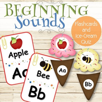 Beginning Sounds Ice-Cream Game and Flashcards - INSTANT DOWNLOAD