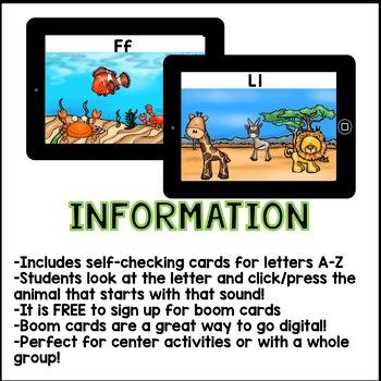 Boom Cards - Beginning Sounds Kindergarten (Interactive A-Z Self-Checking Cards)